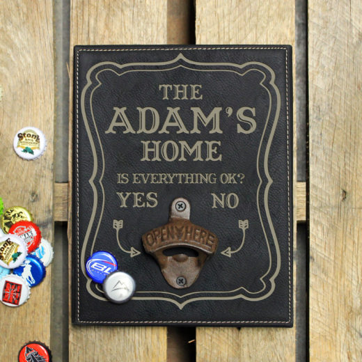 Personalized Leather Bottle Opener Board | Adams Home