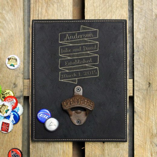 Personalized Leather Bottle Opener Board | Anderson