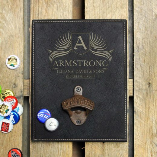 Personalized Leather Bottle Opener Board | Armstrong