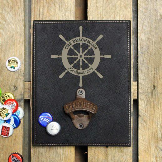 Personalized Leather Bottle Opener Board | Beachmans