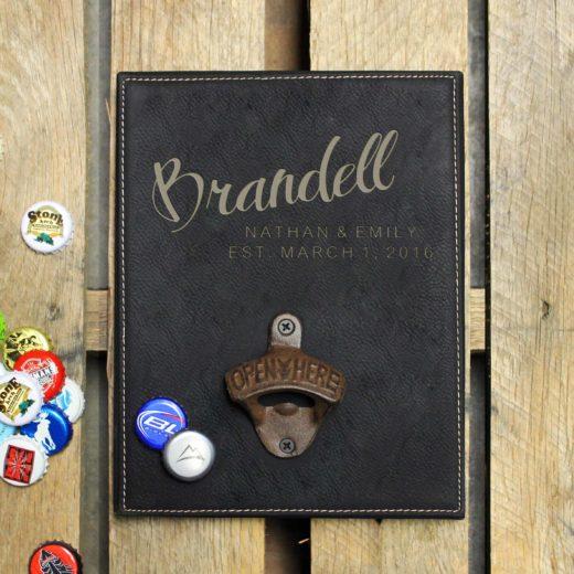 Personalized Leather Bottle Opener Board | Brandell
