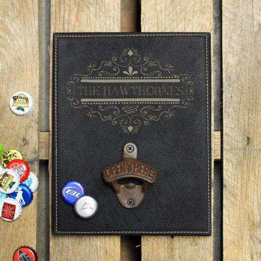 hoPersonalized Leather Bottle Opener Board | Hawthornes