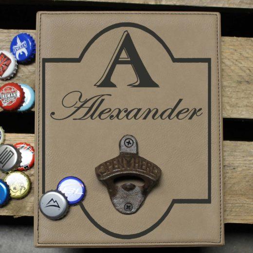 Personalized Leather Bottle Opener Board | Alexander