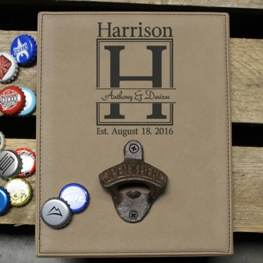 Personalized Leather Bottle Opener Board | Anthony & Desiree