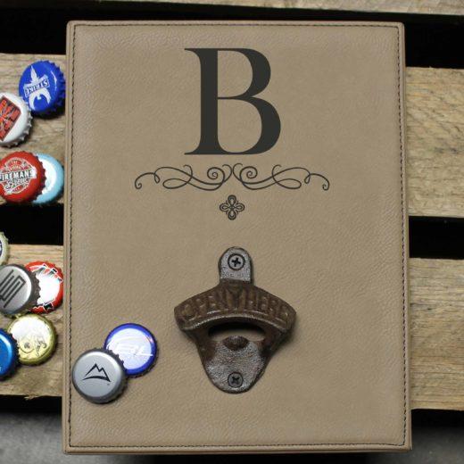 Personalized Leather Bottle Opener Board | B