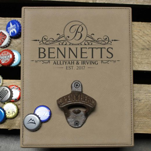 Personalized Leather Bottle Opener Board | Bennetts