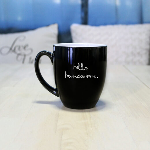 Personalized Bistro Coffee Mug | Hello Handsome