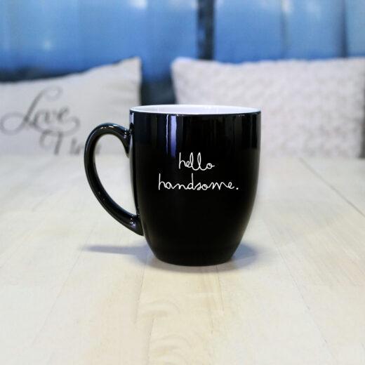 Personalized Bistro Coffee Mug | Hello Handsome