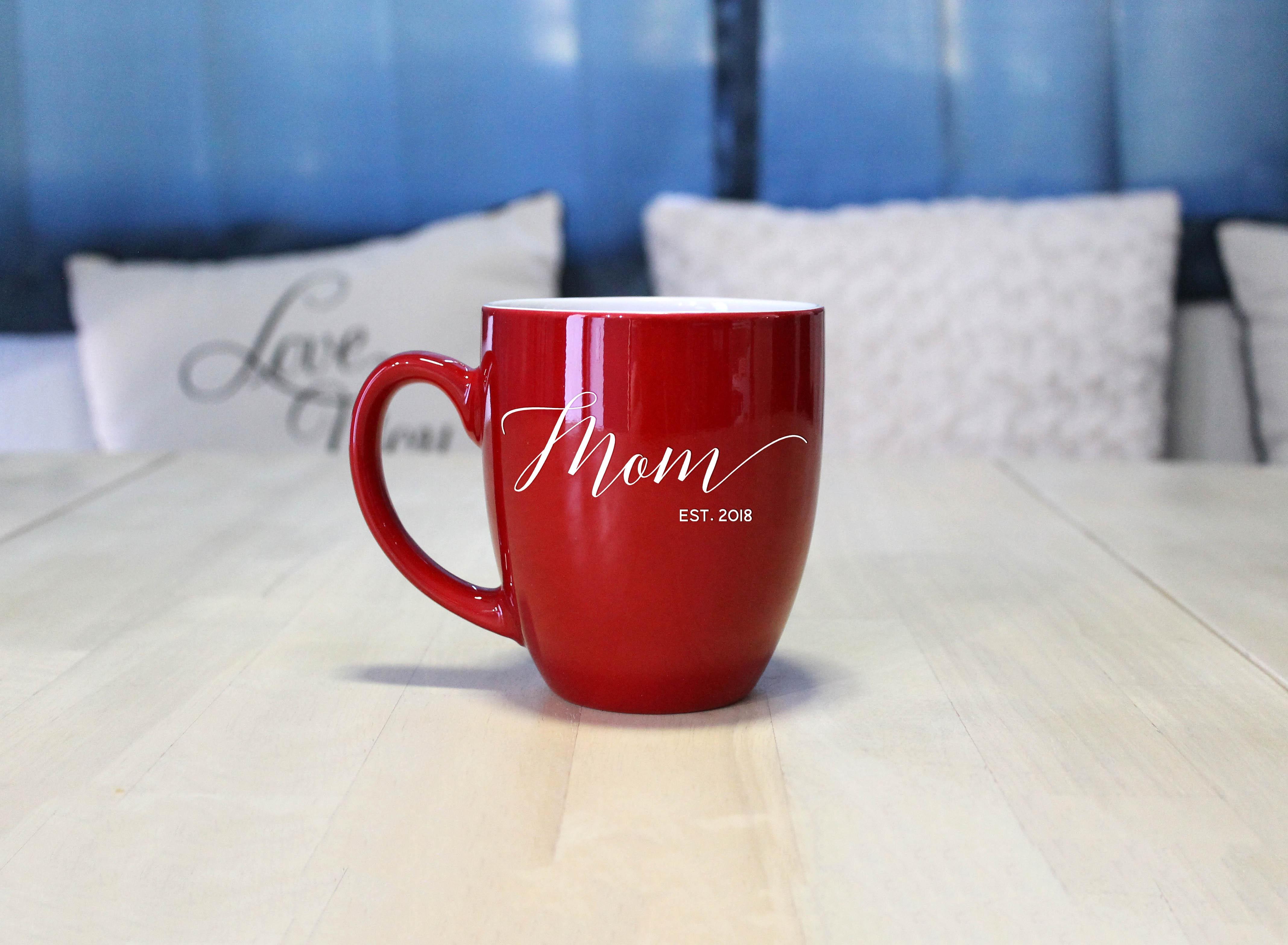 Personalized Bistro Coffee Mug Mom Script Etchey