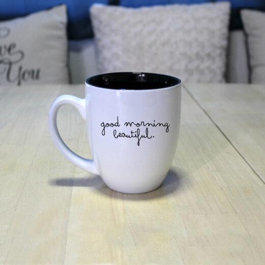 Personalized Bistro Coffee Mug | Good Morning