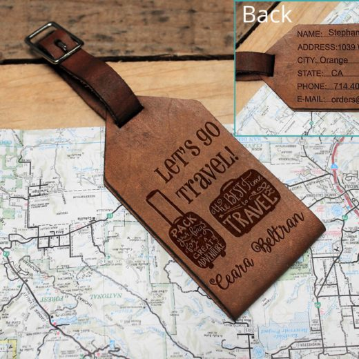 Personalized Leather Luggage Tag | Ceara Beltran