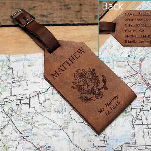 Personalized Leather Luggage Tag | Matthew