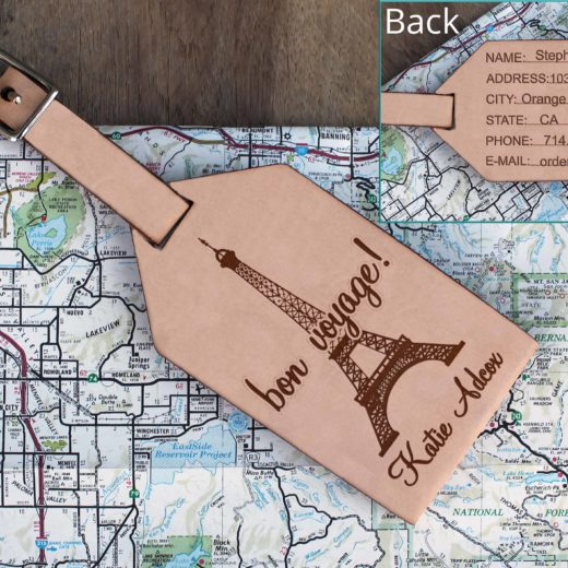 Personalized Leather Luggage Tag | Bon Voyage