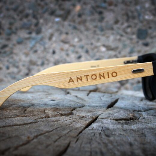 Personalized Black Bamboo Sunglasses | Antonio