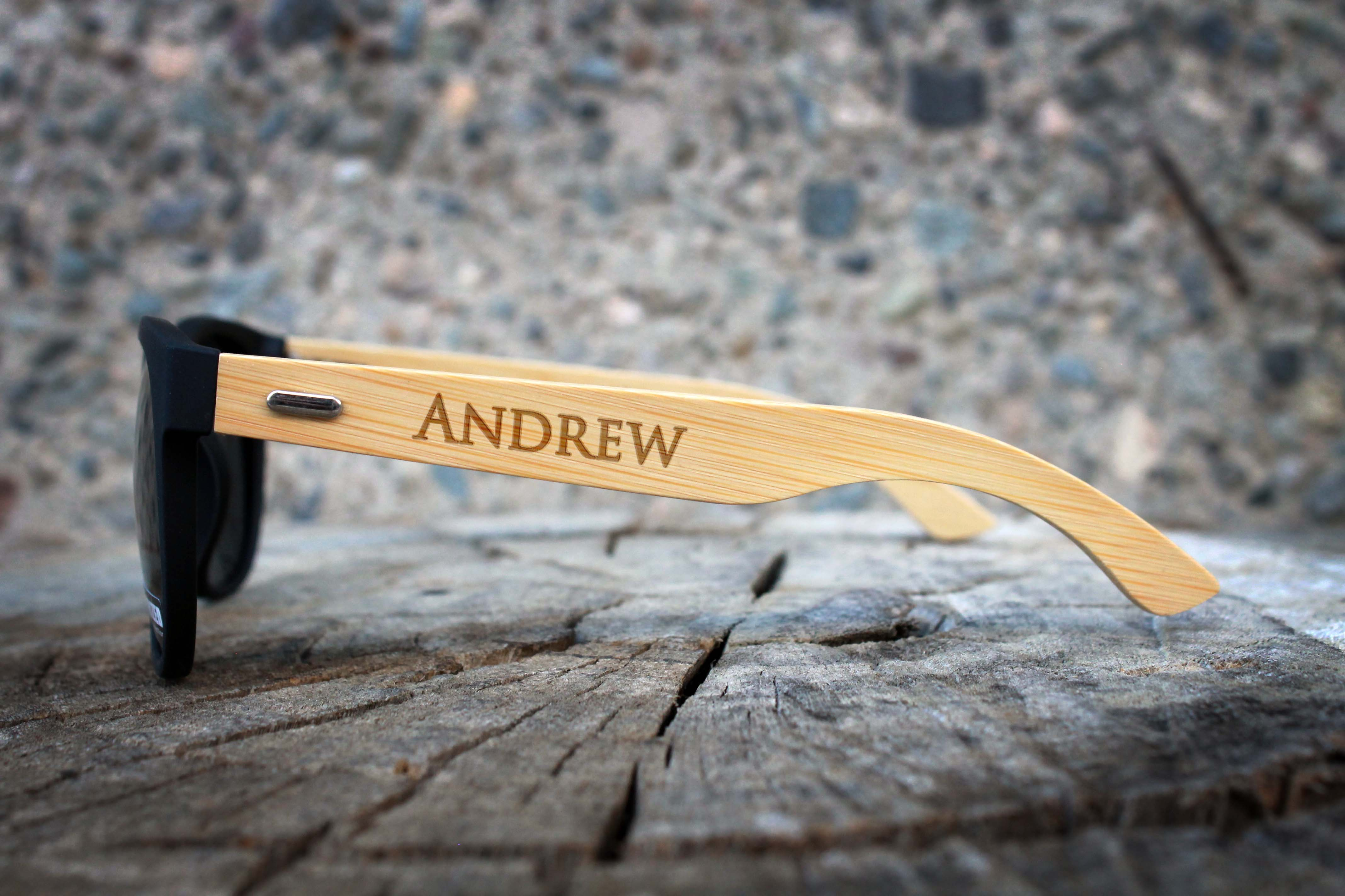64890f412f8 Personalized Black Bamboo Sunglasses