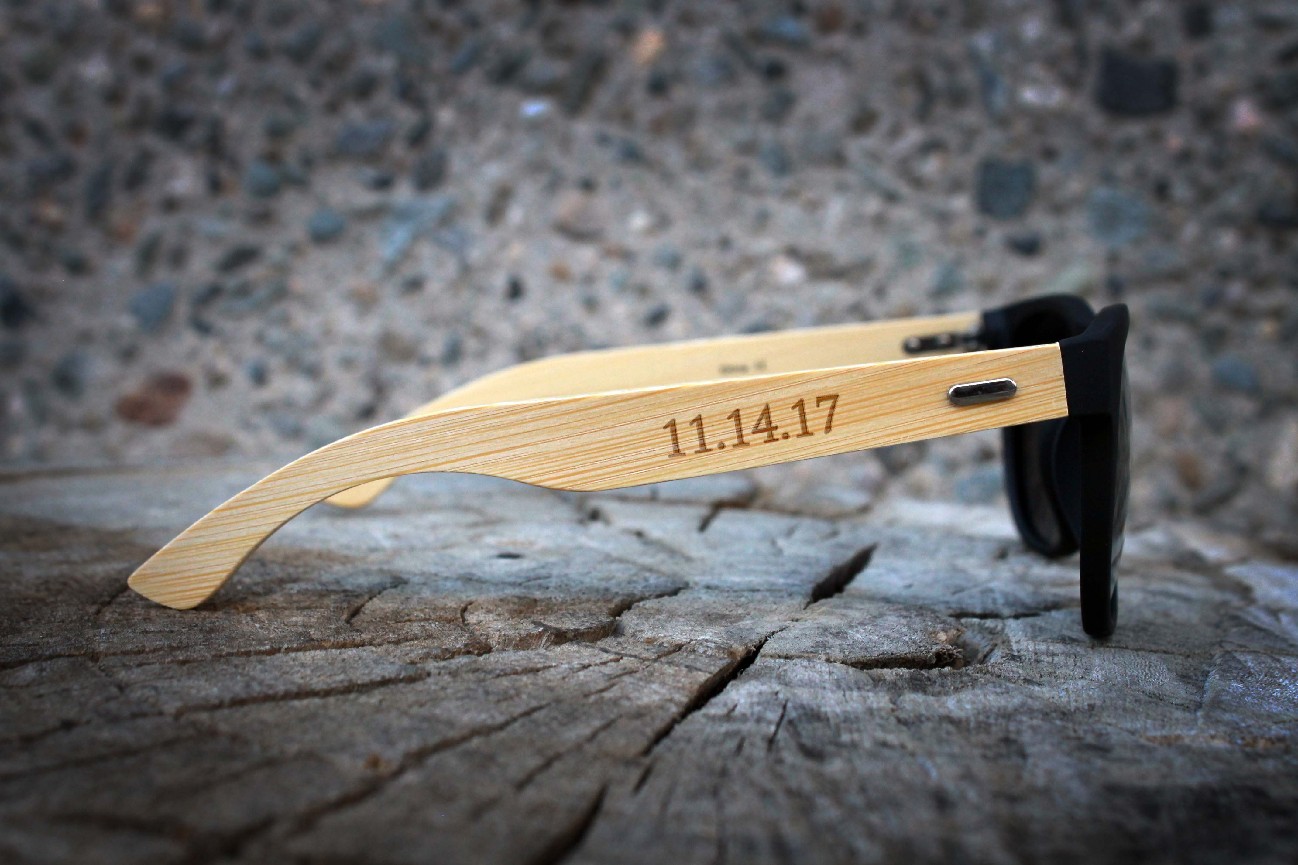 Personalized Black Bamboo Sunglasses | Andrew