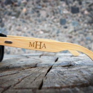 Personalized Black Bamboo Sunglasses   MHA