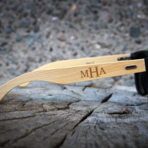 Personalized Black Bamboo Sunglasses | MHA