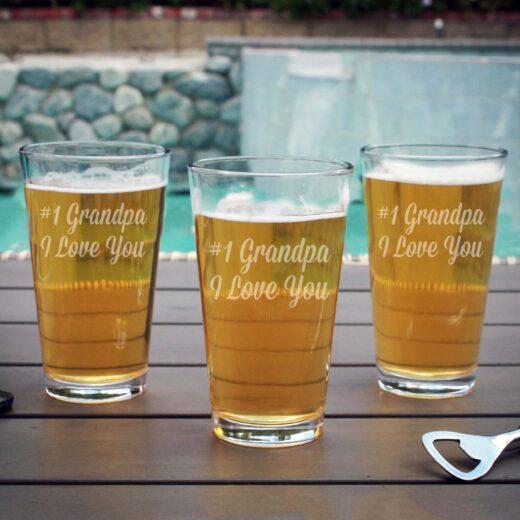 Personalized Pint Glass | #1 Grandpa