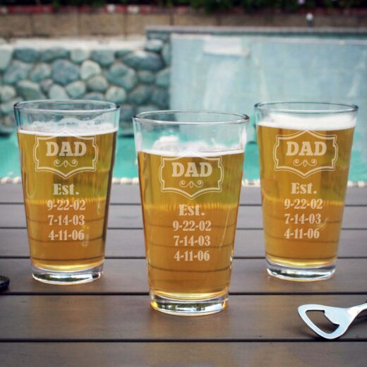 Personalized Pint Glass | Dad EST