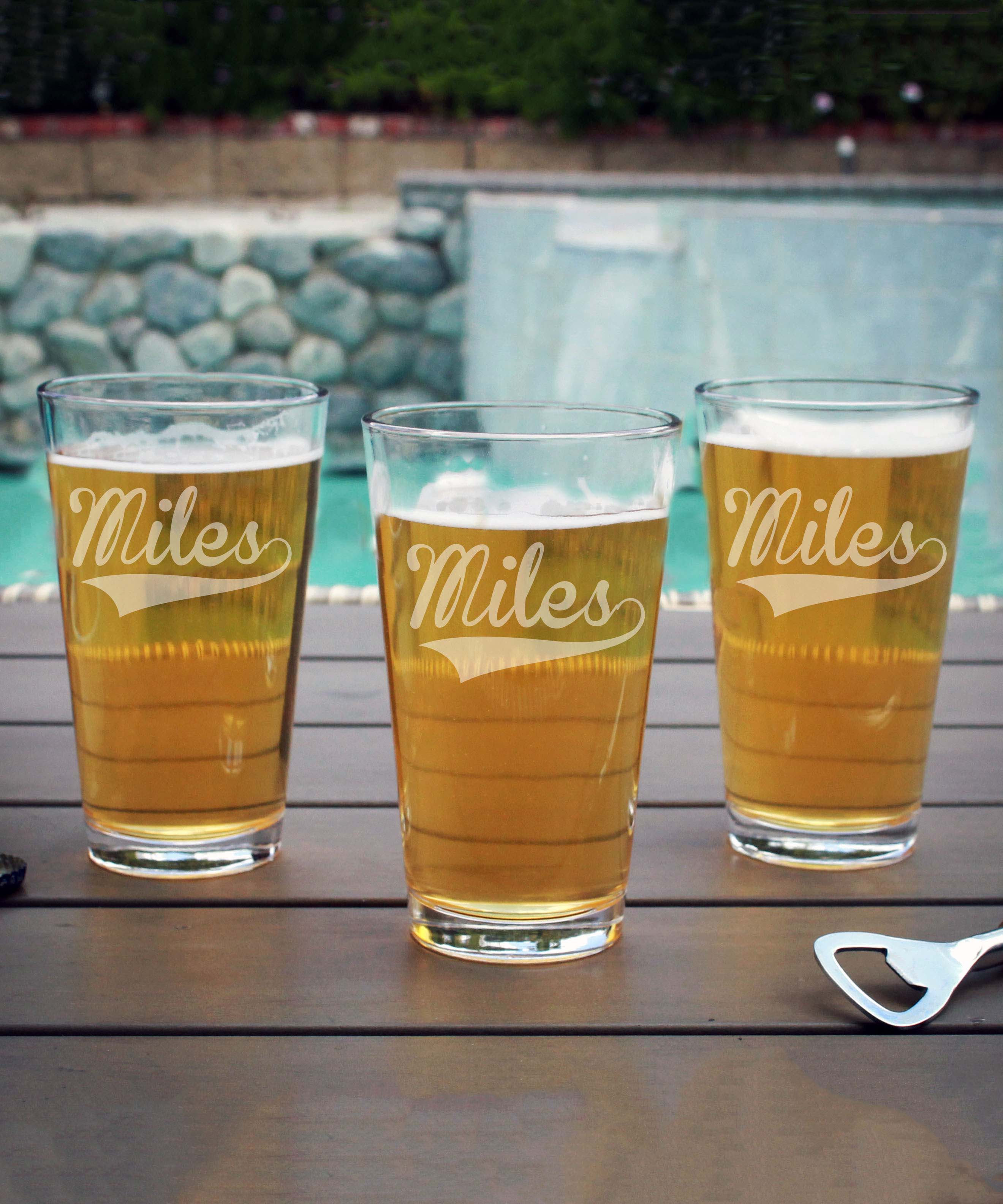 Personalized Pint Glass   Miles