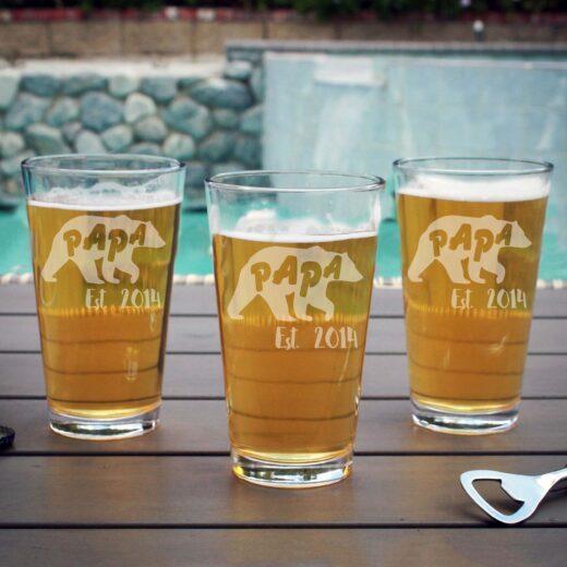Personalized Pint Glass | Papa Bear