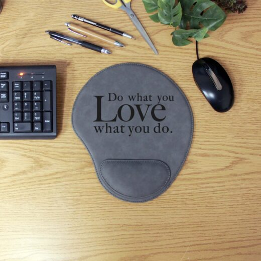Personalized Leatherette Mouse Pad   Love