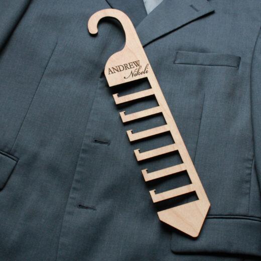 Personalized Wood Tie Rack | Andrew