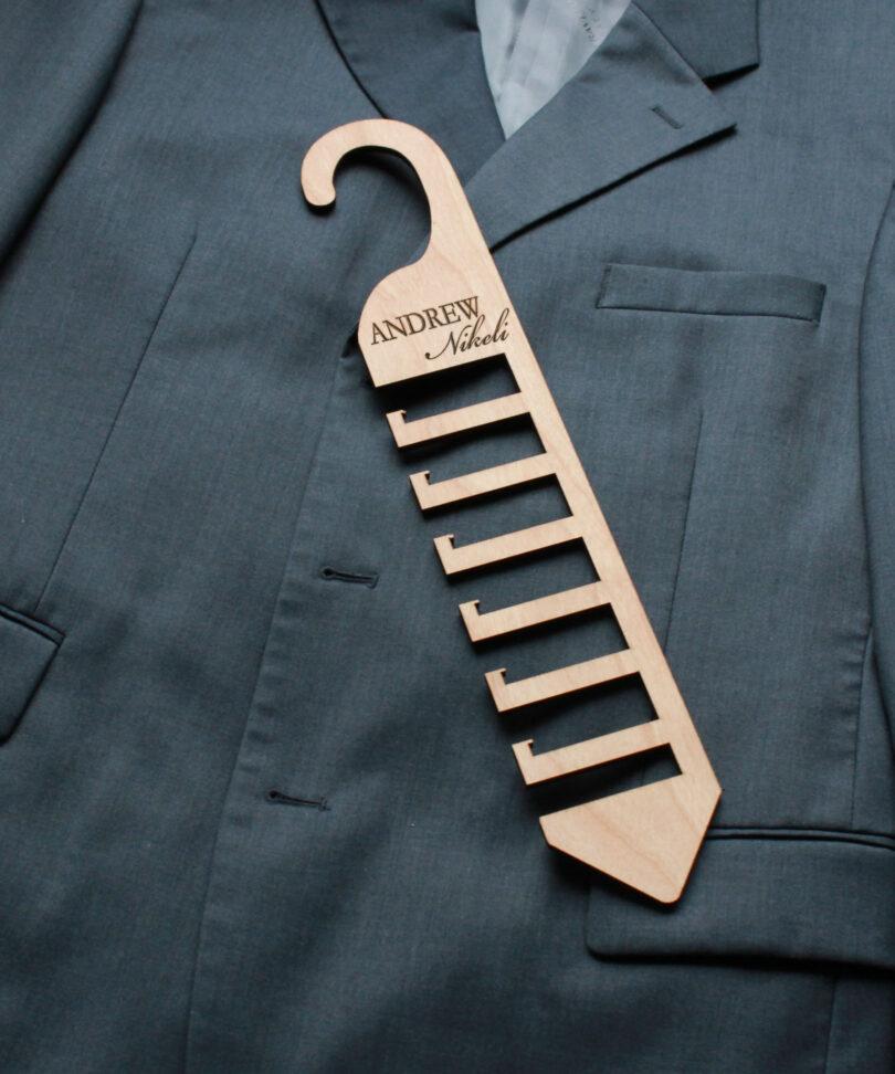 Personalized Wood Tie Rack   Andrew