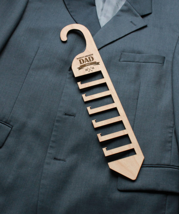 Personalized Wood Tie Rack | Dad
