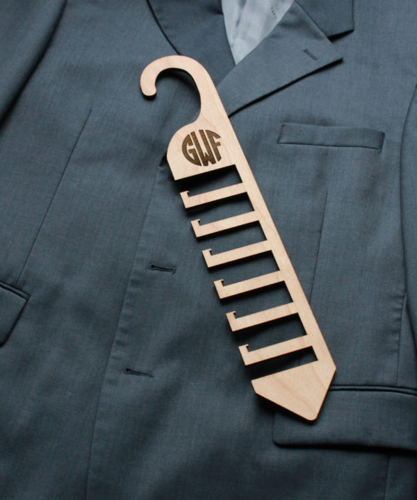 Personalized Wood Tie Rack | GWF