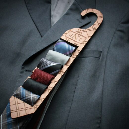 Personalized Wood Tie Rack | Plaid