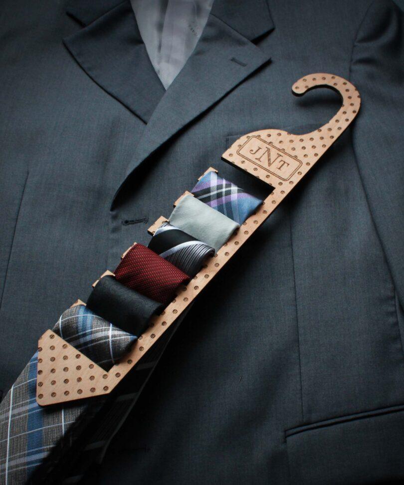 Personalized Wood Tie Rack | Polka