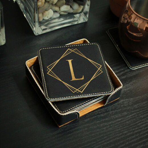 Personalized Black Leatherette Coasters | L