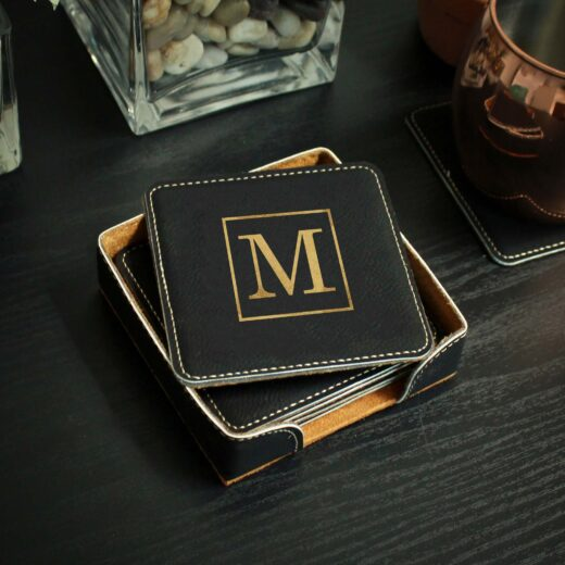 Personalized Black Leatherette Coasters | M Square