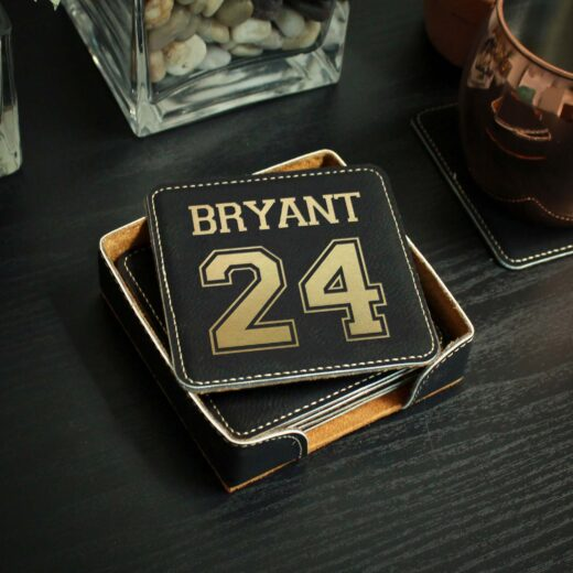 Personalized Black Leatherette Coasters | Bryant