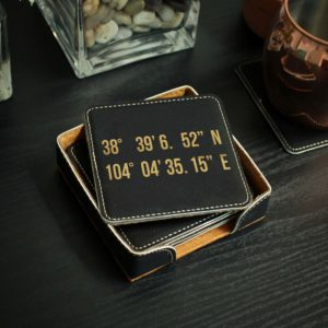 Personalized Black Leatherette Coasters | Coordinates
