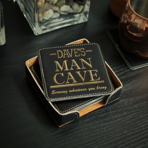 Personalized Black Leatherette Coasters | Dave