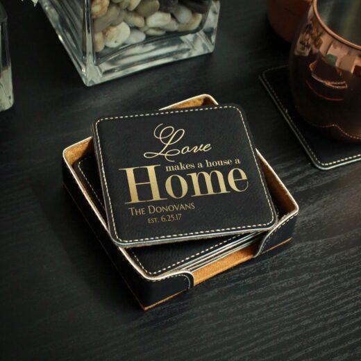 Personalized Black Leatherette Coasters   Donovans