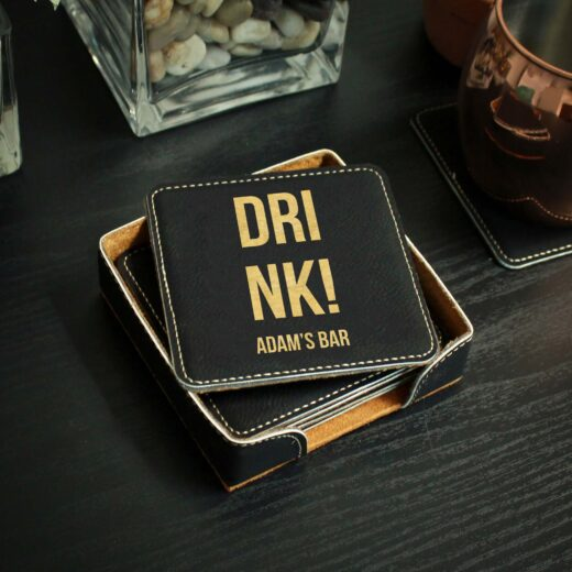 Personalized Black Leatherette Coasters   Drink