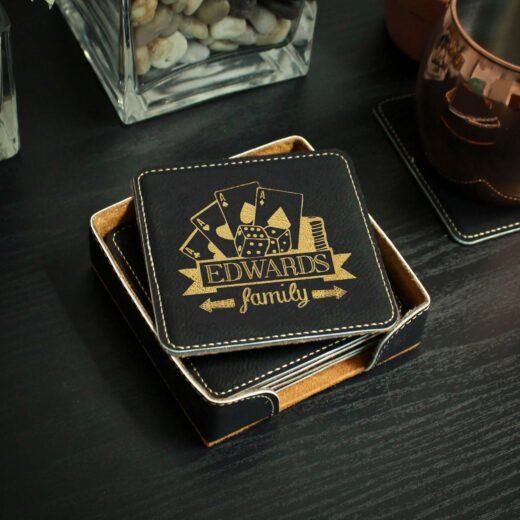 Personalized Black Leatherette Coasters   Edwards