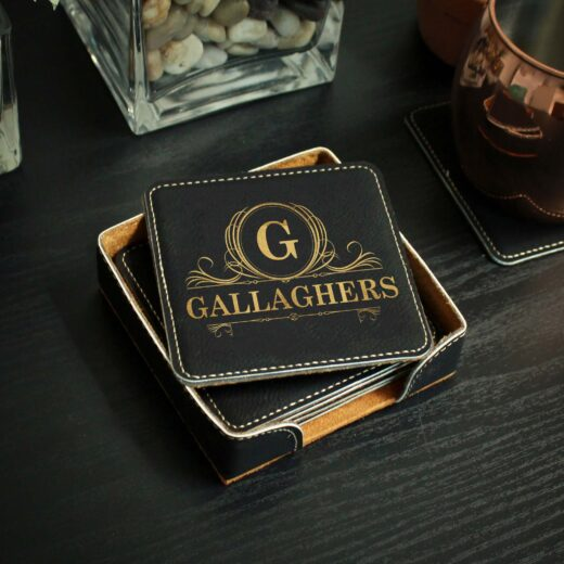 Personalized Black Leatherette Coasters   Gallaghers