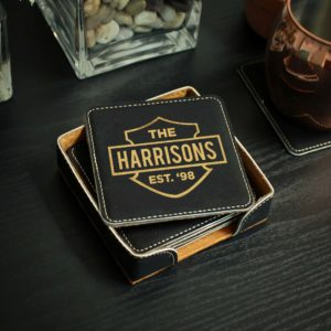 Personalized Black Leatherette Coasters | Harrisons