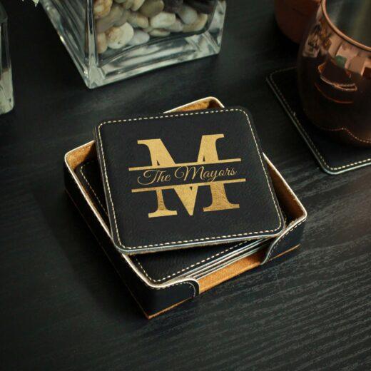 Personalized Black Leatherette Coasters   Mayors
