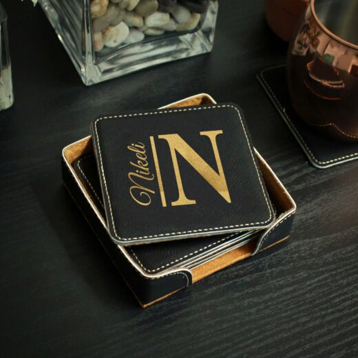 Personalized Black Leatherette Coasters   Nikeli