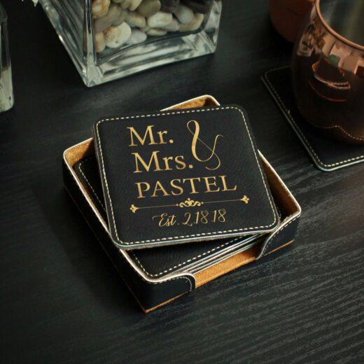 Personalized Black Leatherette Coasters | Pastel