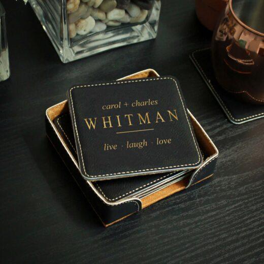 Personalized Black Leatherette Coasters | Whitman