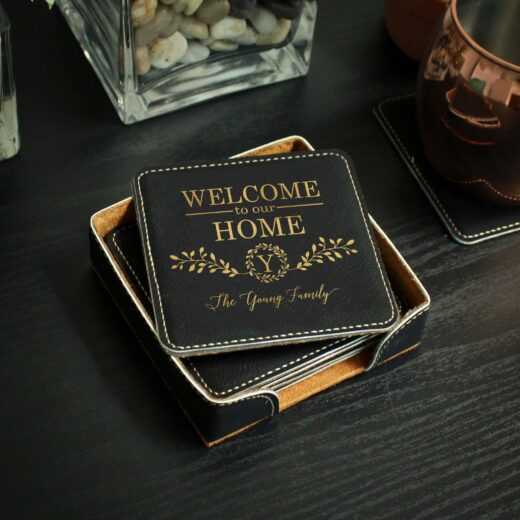 Personalized Black Leatherette Coasters   Young