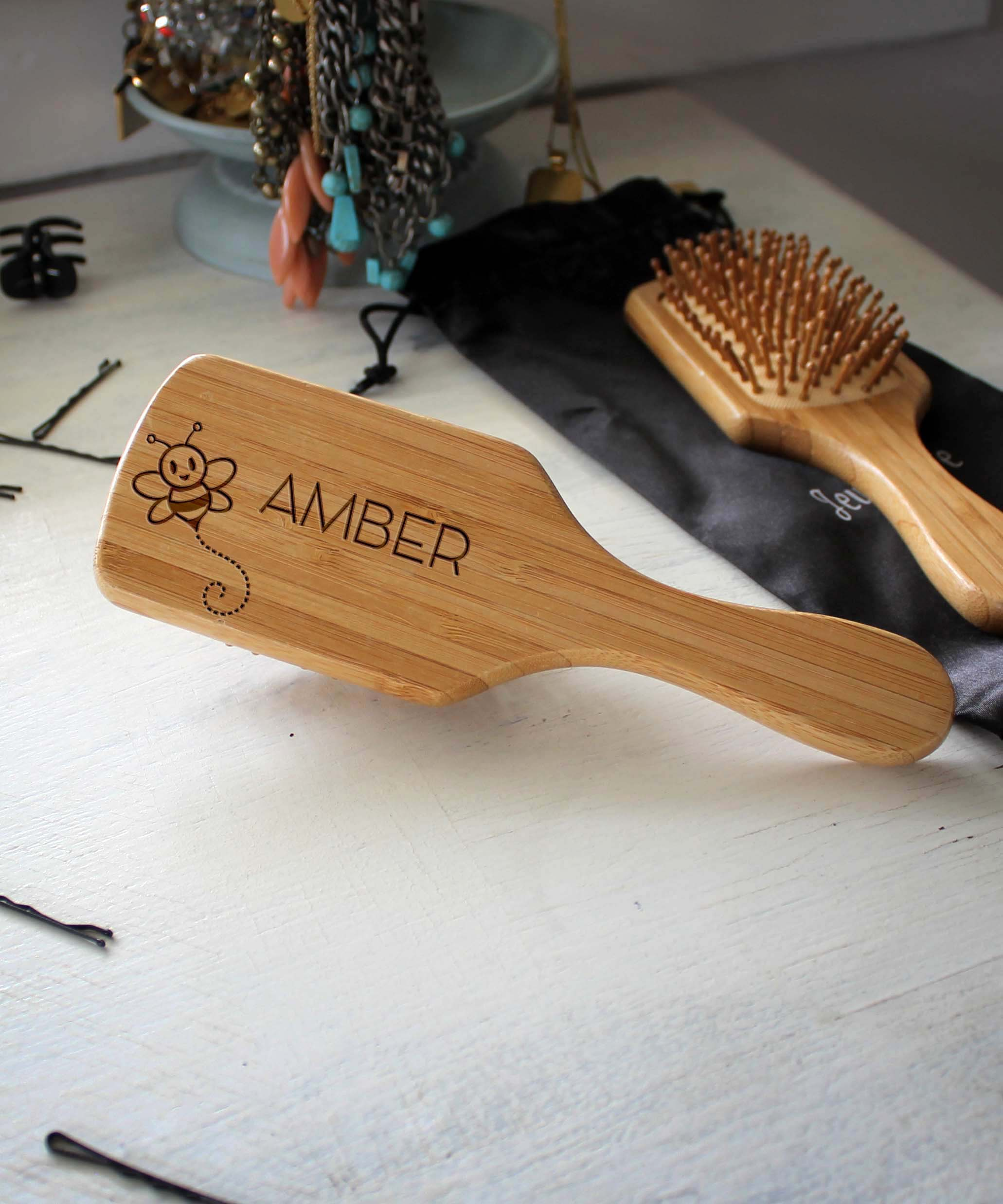 Personalized Hair Brush   Amber