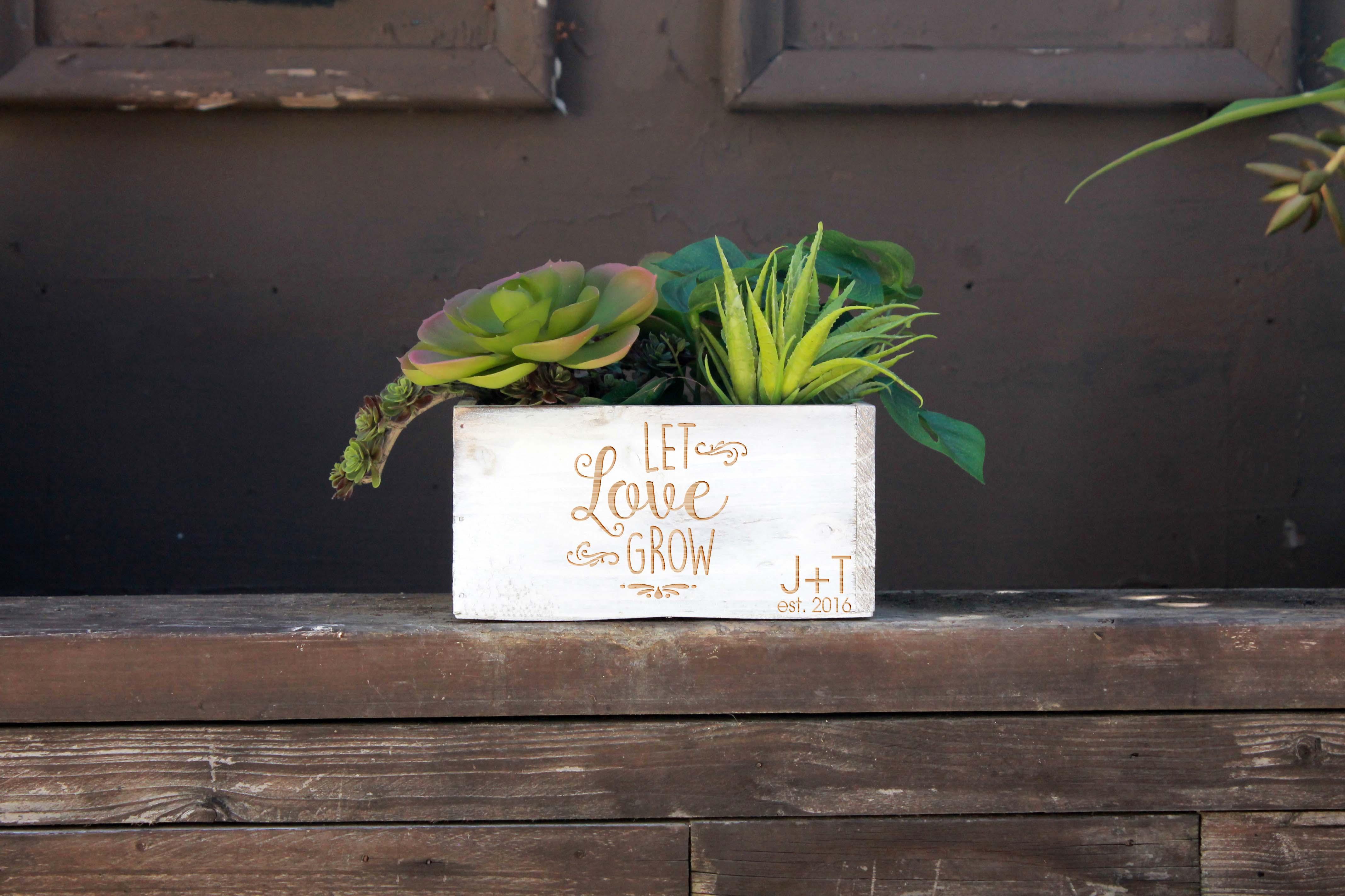 7 x 7 Personalized Planter Box   Let Love Grow JT